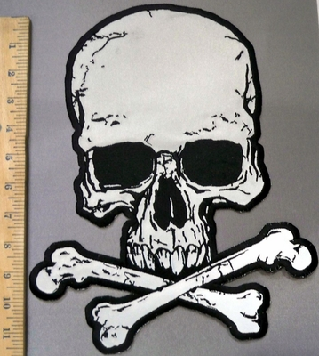 4047 G - Reflective - Skull Face With Cross Bones - Back Patch - Embroidery Patch
