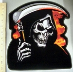 4048 G - Grim Reaper Within Flames With Scythe - Back Patch - Embroidery Patch