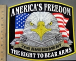 4049 G - America's Freedom - 2nd Amendment - The Right To Bear Arms - American Eagle With American Flag And 2 Pistols - Back Patch - Embroidery Patch