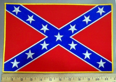 4052 S - Confederate Flag #1 - 11 Inch - Back Patch - Embroidery Patch