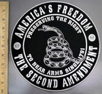 4054 R - America's Freedom -2nd Amendment - Round Back Patch - Embroidery patch