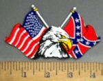 4061 R - American And Confederate Flags With Bald Eagle - Embroidery patch