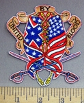 4063 N - United By Blood - American Flag And Confederate Flag Woven Together -  2 Swords - Embroidery Patch