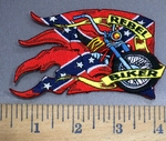 4064 R - Rebel Rider With Motorcycle And Confederate Flag - Embroidery Patch