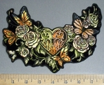 4078 G - Heart Locket With Butterflies And Roses - Back Patch - Embroidery Patch