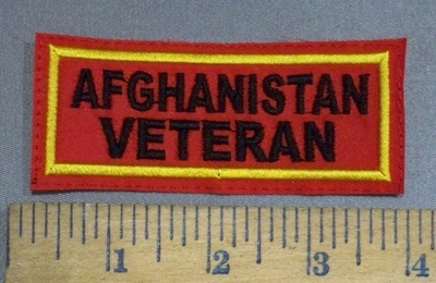 4093 L - Afghanistan Veteran - Red Background - Embroidery Patch
