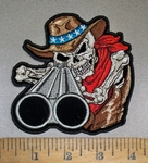 4410 CP - American Cowboy Skullman With Shotgun - 5 Inch - Embroidery Patch