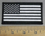 4114 S - Black And White Flag - 3.5 Inch Long - Embroidery Patch