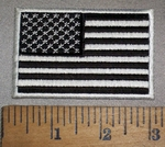 4115 S - Black And White Flag - White Border - 3.0 Inches Long - Embroidery Patch
