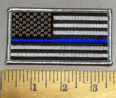 4116 S - Thin Blue Line - Black And Gray Flag - Police Officer - Embroidery Patch
