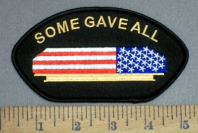 4128 S - Some Gave ALL - Coffin Draped In American Flag - Embroidery Patch