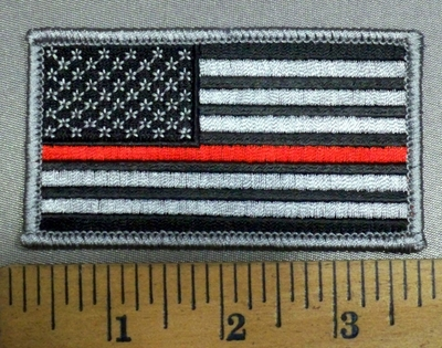 4132 S - Red Thin Line - Black And Gray Flag - Firefighter - Embroidery Patch