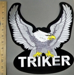 4136 S - Triker With Sliver Eagle - XL  Back Patch - Embroidery Patch