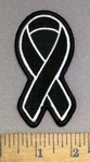 4169 S - Melanoma Cancer Ribbon - Black - Embroidery Patch