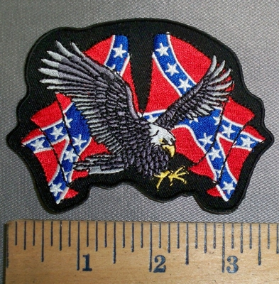 4184 R - Two Confederate Waving Flags With Eagle in Flight - Embroidery Patch