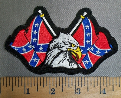 4185 R - Two Confederate Flags With American Eagle - Embroidery patch