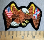 4186 R - American And Confederate Flag With American Eagle - Embroidery patch