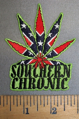 4190 N - Confederate Flag Marjiuana/Pot Leaf - Southern Chronicle - Embroidery Patch