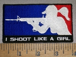 4214 CP  - Girl Shooting Rifle - I Shoot Like A Girl - Embroidery Patch