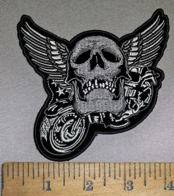 4224 CP - Motorcycle With Skull And Angel WIngs - Embroidery Patch