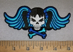4225 CP - Blue Angel Wings - Skullgirl WIth Pigtails And Crossbones - Embroidery PAtch