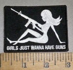 4230 CP - Mudflap Girl With Rifle - Girls Just Wanna Have Guns - Embroidery Patch
