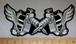 4235 CP -Two Tattoo Guns - Back Patch - Embroidery Patch