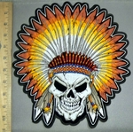 4236 CP -Smiling Indian Skullman -Full Colored Headdress - Back Patch - Embroidery Patch
