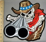 4237 CP - American Cowboy Skullman With Shotgun - Back Patch - Embroidery Patch