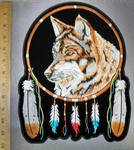 4238 CP - Wolf Dreamer Catcher With Colorful Feathers - Back Patch - Embroidery Patch