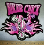 4241 CP - Biker Chick Doing Wheelie With Flames - Biker Chick - Pink - Purple - Back Patch - Embroidery Patch