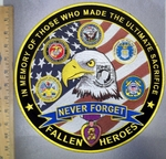 4246 CP - In Memory Of Those Who Made The Ultimate Sacrifice - Fallen Heroes - POW MIA American Eagle With Military Logos - Purple Heart - Round - Back Patch - Embroidery Patch