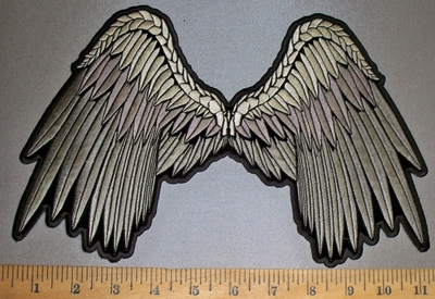 4248 CP - Silver Angel Wings - Back Patch - Embroidery Patch