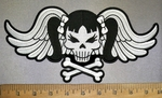 4254 CP - Skullface With Pigtails - Crossbones And Silver Angel Wings - Back Patch - Embroidery Patch