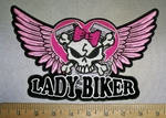 4255 CP - Skullface With Crossbones - V- Twin Engines - Pink  Wings - Lady Rider - Back Patch - Embroidery Patch