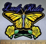 4256 CP - Yellow Butterfly - Two Yellow Roses - Lady Rider - Back Patch - Embroidery Patch