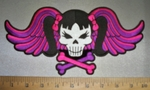 4257 CP - Skullface With Pigtails - Crossbones And Colorful Angel Wings - Back Patch - Embroidery Patch