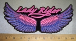 4258 CP - Colorful Angel Wings With Lady Rider - Back Patch - Embroidery Patch