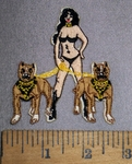 4345 N - Black Bikini Chick With 2 Pitbull Dogs - Embroidery Patch