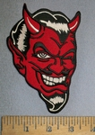 4349 S - Red Devil Face - Embroidery Patch
