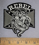 4351 CP - Confederate Flag - Skull Face With Beard And Confederate Bandana - Embroidery Patch