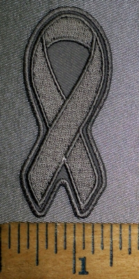 4360 CP - Small Charcoal Gray Ribbon - Asthma Awareness Ribbon - Embroidery Patch