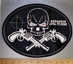 4365 L - Assassin - Loyal To None - Red Eyed Skull With 2 Pistols - Back Patch - Embroidery Patch