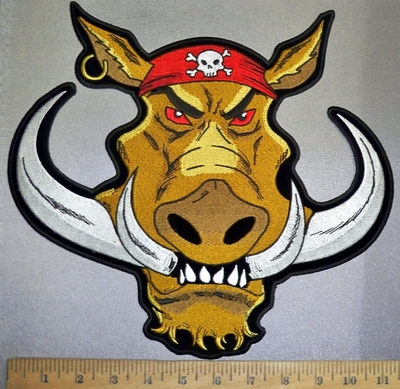 4366 CP - Large HOG - With Skull Bandana - Large Back Patch - Embroidery Patch