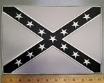 4367 S - Gray Confederate Flag With Black - Back Patch - Embroidery Patch
