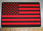 4368 CP - Red And Black American Flag - Back Patch - Embroidery Patch