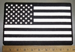 4369 CP - REFLECTIVE - Black And White American Flag - Back Patch - Embroidery Patch
