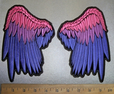 4372 CP - discont.- Colorful Set Of Angel Wings - Back Patch - Embroidery Patch