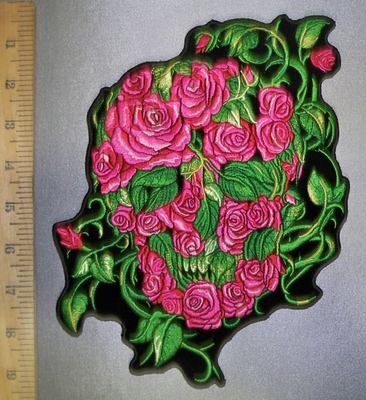 4374 G - Skull Face Made Of Roses And Vines - Pink - Back Patch - Embroidery Patch