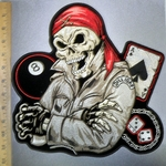 4380 CP - Skull Man With Red Crossbone Bandana - 8 Ball - Ace of Spades - Dice -  Large Back Patch - Embroidery Patch